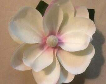White Magnolia flower hair clip