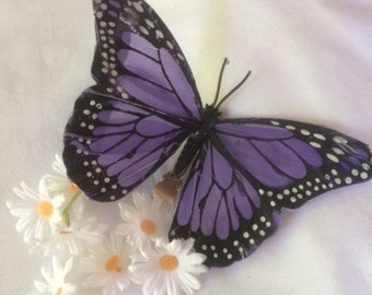 Blue Monarch butterfly hair clip