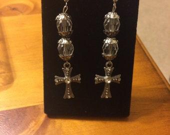 Stunning silver cross earrings