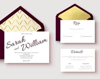 No. 1 | Printable 5 x 7  Wedding Invitation | 3.5 x 5 RSVP | 3.5 x 5 Details