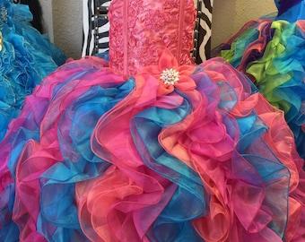 Rainbow princess custom dress