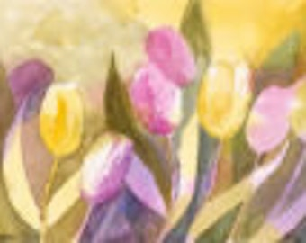 Tulips. An Original Watercolour in soft pinks and mauves.