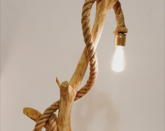 Wood lamp with rope. Natural handmade design. Bulb included.