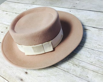 Vintage Tan Bowler Hat