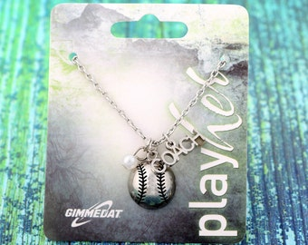 Customizable Softball Coach Silver Necklace - Personalize with Number, Heart, or Letter Charm! Great Softball Coach Gift!