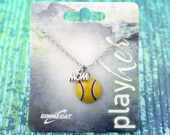 Customized Enamel Softball Mom Necklace - Personalize with Softball Jersey Number, Heart Charm, or Letter Charm! Great Softball Mom Gift!