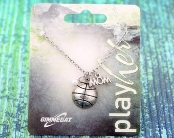 Customizable Silvertoned Basketball Mom Necklace - Personalize with Jersey Number, Letter Charm or Heart Charm! Great Basketball Gift or!