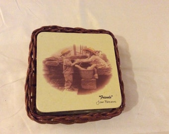 Vintage Friends Inspirational Picture Coaster and Basket