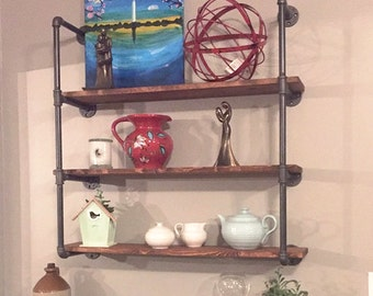 "Wall unit Three Shelf Industrial - 24"" Wide Wood and Pipe Shelving Unit - Farmhouse Rustic Wall Shelves"