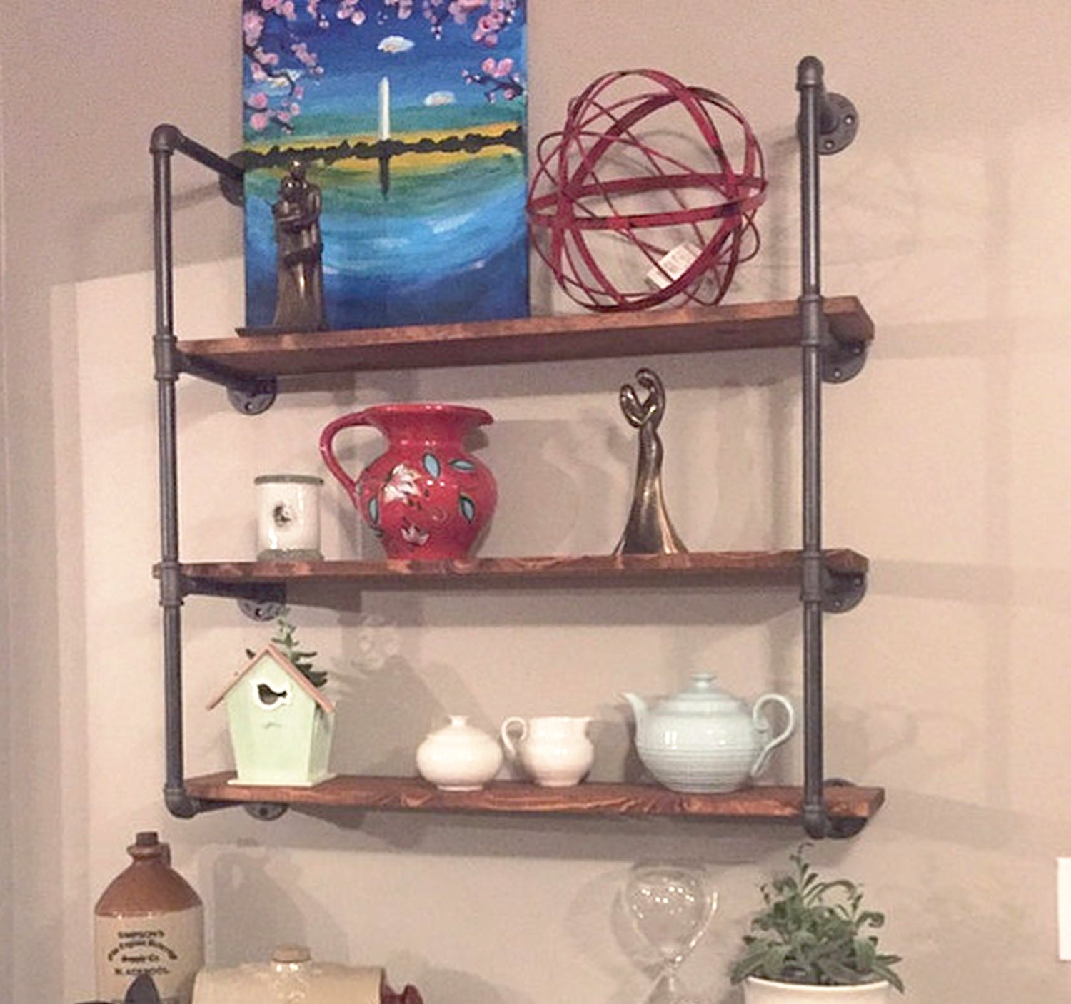 wall unit three shelf industrial 24 wide wood and pipe. Black Bedroom Furniture Sets. Home Design Ideas