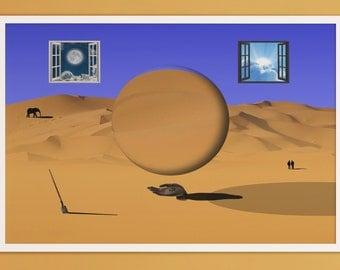 "Digital print ""Creation"", Digital download print, Surreal art, Surrealism, Home decor, Wall art, A2, A3, B2, B3 poster"