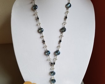 Set: Long Glass Bead Necklace-Blue with Clear/Silver Bead