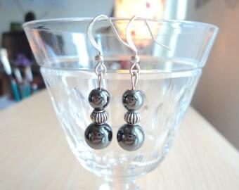 Hematite earrings. Handmade dangling earrings.