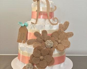 Vintage Flower Diaper Cake