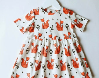 Organic Cotton Baby Dress Fox // red triangler