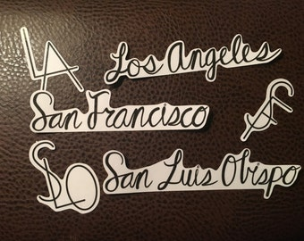Cities Stickers // San Francisco - SF // Los Angeles -  LA // San Luis Obispo - SLO
