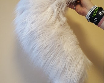 Luxury faux fur fox tail in white