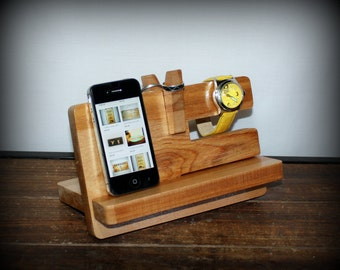 Docking Station, READY to SHIP Phone Stand, Charging Station Valet Nightstand Organization, Glasses Holder, NATURAL, Father's Day Gift