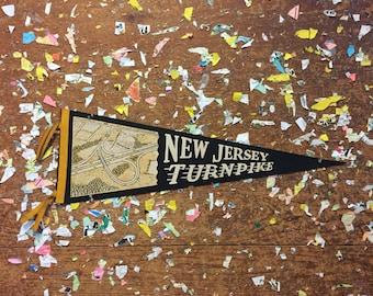 New Jersey Turnpike Black Felt Pennant Vintage Wall Decor