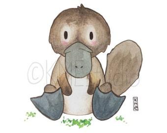 Platypus - Australian Animal Nursery Watercolour Print