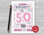 """Printable 50th Birthday Card - Doodled Fifty Birthday Card in Pink - 5""""x7"""" plus printable envelope template. Instant Download."""