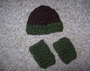 Preemie,Preemies,Boy,Boys,Hat,Leg Warmers,Crochet,Gift,Clothing,Brown,Green