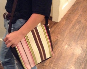 Homemade Pink Striped Messenger Bag