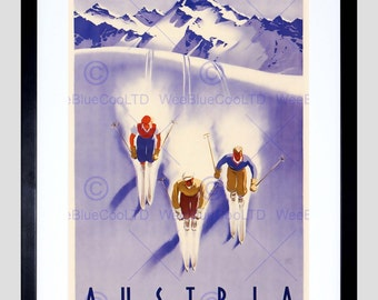 Travel Tourism Winter Sport Austria Ski Snow Alps Art Print Poster FEBB10015