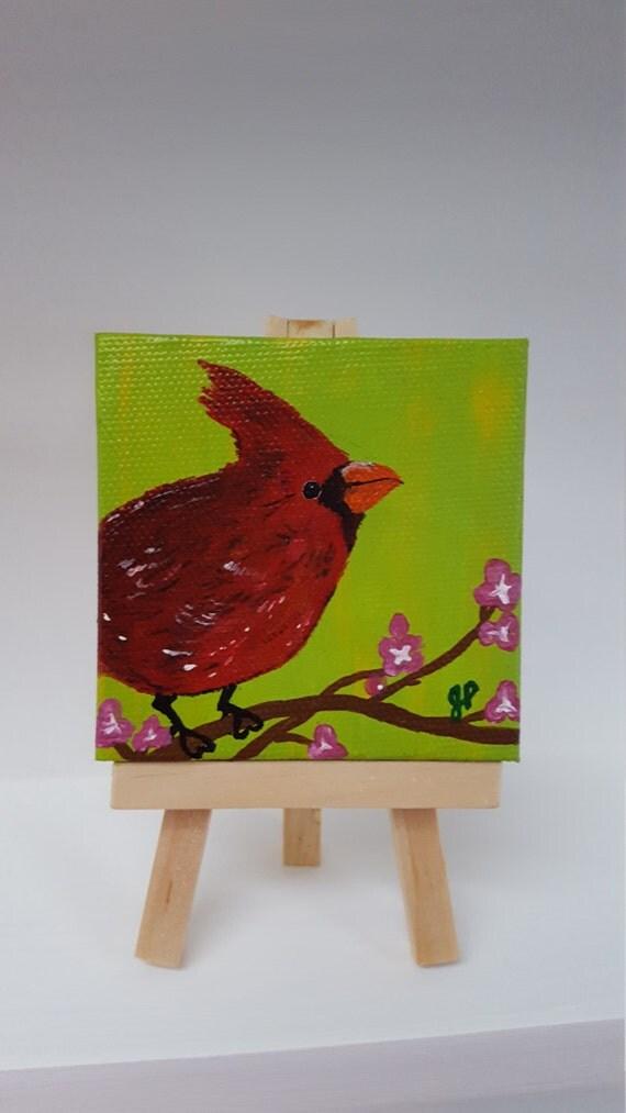 Cardinal Painting Mini Painting Tiny Painting Bird Decor