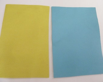 2 pieces of fine leather and soft 8.5 cm x 5.5 yellow and sky blue