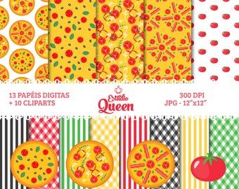 Digital Scrapbook, Pizza Digital Paper, Pizza Clipart, Tomato, Background, Pattern, Clipart