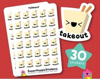 """30 Cute """"takeout"""" Planner Stickers, Filofax, Erin Condren, Happy Planner, Kawaii, Cute Sticker, UK"""