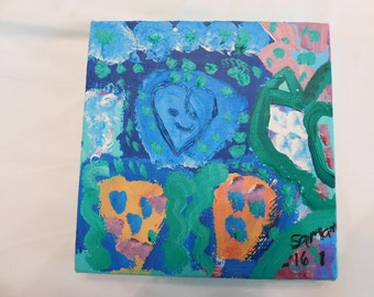 Hearts of Blue canvas 6 x 6