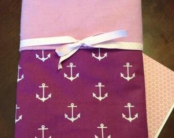 Girl anchor blanket, cotton swaddling blanket, anchors receiving blanket, plum & lavender baby blanket