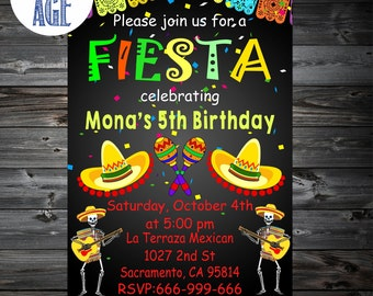 Fiesta Invitation,Fiesta Birthday Invitation, Cinco De Mayo Invitation, Mexican Party Invitation,Mexican Fiesta Party Invitations,Printable