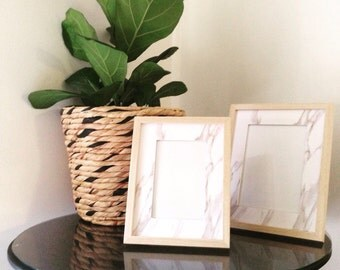 Picture frames marble look with wood detail