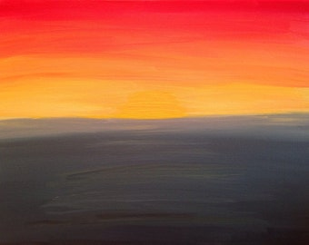 Abstract beach painting - sunset