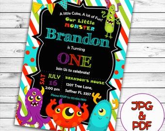 Little Monster Birthday Invitation, Monster Invitation, Monster Party Invitation, Little monster Birthday Party, Monster Birthday, Printable