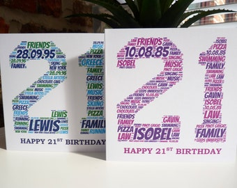 Personalised 21st Birthday Card , 21st Card, Special Card, Personalised Birthday Card, 21st Birthday Card