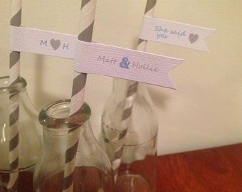 100x Personalised Engagement/Wedding Straws