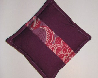 purple and floral hot/cold rice bag