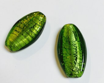 Large Oblong Foiled Glass Beads in Olivine - 2 Pieces - #624