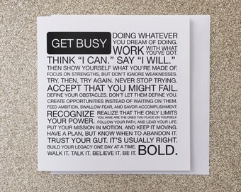 Get Busy Manifesto 5 x 5 Greeting Card, Typography Print, Motivation, Inspiring Cards, Pep Talk, Monochrome Art