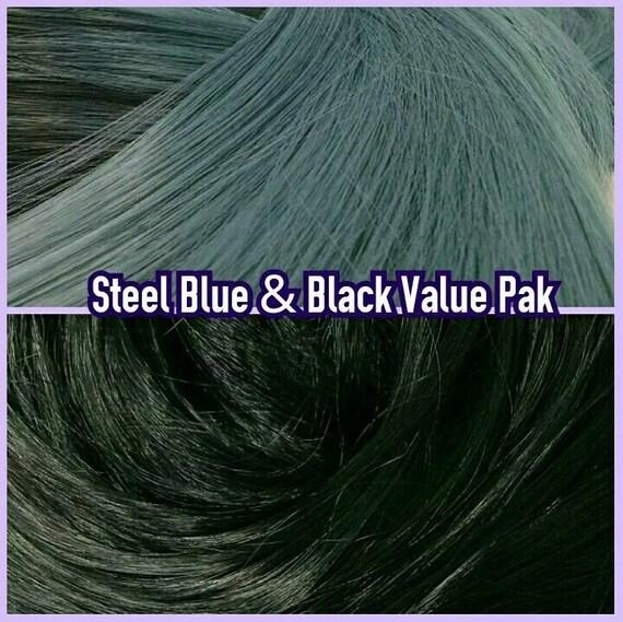 Black & Steel Blue XL 4oz 2 Color Value Pak Nylon Doll Hair Hanks Rerooting Monster High Ever After Barbie My Little Pony Crissy