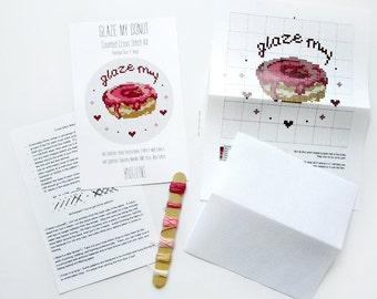 """Cross Stitch Kit - """"Glaze My Donut"""""""