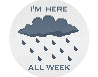 DIY Cross Stitch Kit • I'm Here All Week • Sad Rain Cloud