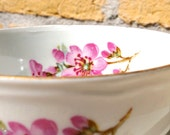 Vintage German Teacup and Saucer with Sakura Cherry Blossoms and Gold rim, perfect tea cup for English High tea or romantic garden party