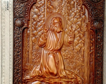 Wood Carving,St Seraphim of Sarov Icon,religious Icon,Orthodox Christian, Byzantine, Hand Made