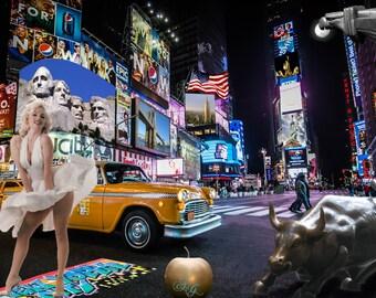 Signed urban photomontage: NEW YORK CITY - print on plexiglass 40 x 30 cm