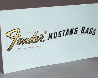 1969 Fender Mustang Bass precut water slide decal headstock restoration